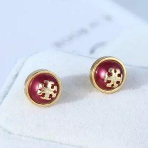 Tory Burch Gold & Red Pearl Logo Stud Earrings